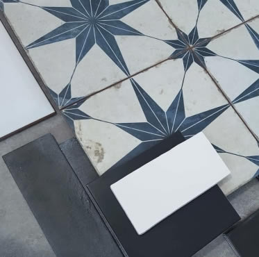 star pattern bathroom tiles