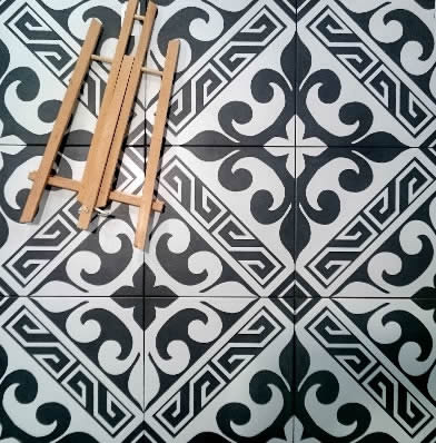 black white pattern tiles Sydney Moroccan Bathroom
