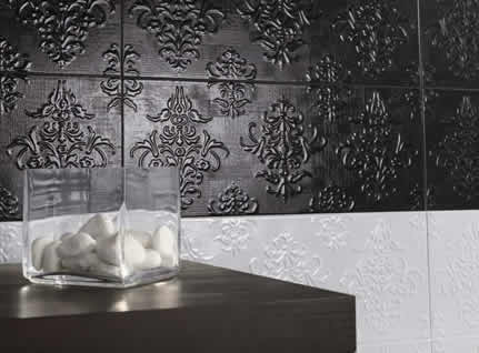 pressed metal look tiles bathroom feature wall tile ideas Batrhoom tiles decorative Sydney