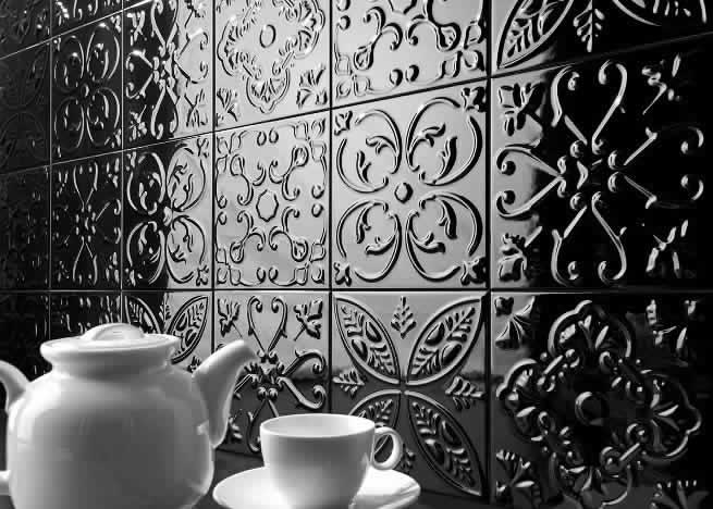 Sydney Pressed Metal Look Tiles Feature Wall Tin Showroom Spain