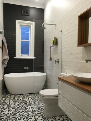 Delicieux Black And White Bathroom Sydney Tiles Eras