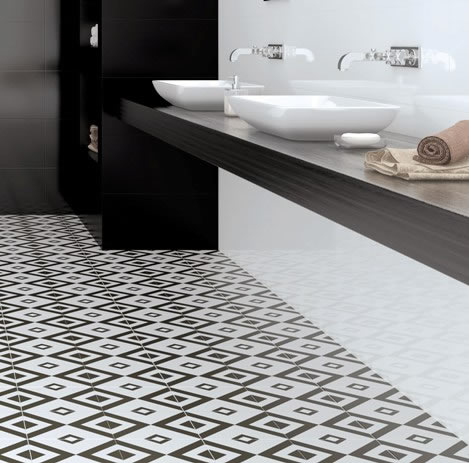 black white tiles Sydney bathroom floor